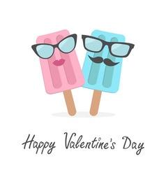 Happy Valentines Day Love card Ice cream couple vector image vector image