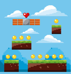 Pixel game arcade world gold coins landscape vector