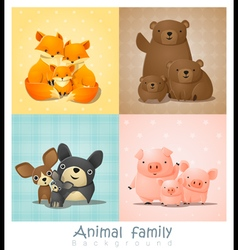 Set of cute animal family portrait vector image