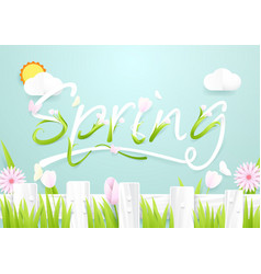 spring season concept wooden fence with flowers vector image