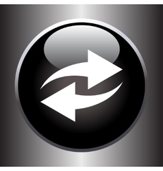 Two arrows icon on black glass button vector image vector image