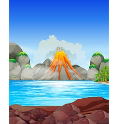 Volcano eruption at the lake vector image vector image