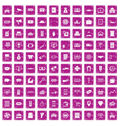 100 coin icons set grunge pink vector