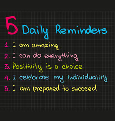 5 daily reminders vector