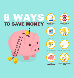 8 way to save money infographic pig vector