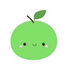 Apple icon green color cute cartoon kawaii vector