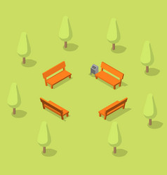 benches in park resting place in forest vector image