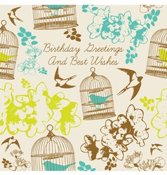 Birthday Swallows Card vector