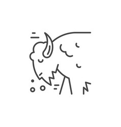 Bison line icon vector