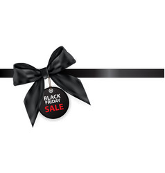 black friday sale labei with bow and ribbon vector image