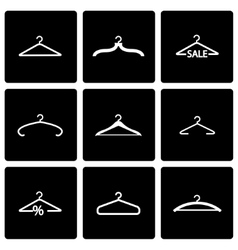 black hanger icon set vector image
