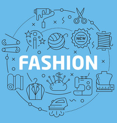 Blue line flat circle fashion vector
