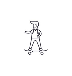 boy skateboarding line icon sign vector image