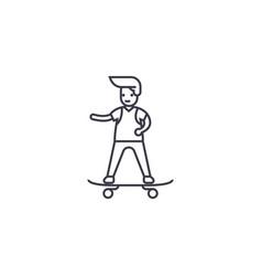 boy skateboarding line icon sign vector image