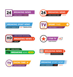 breaking news banners television interface bar tv vector image