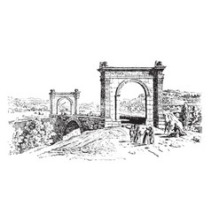bridge at st chamas in southern france vintage vector image