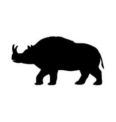 brontotherium rhinoceros silhouette extinct mammal vector image