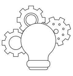 bulb light and gears black and white vector image