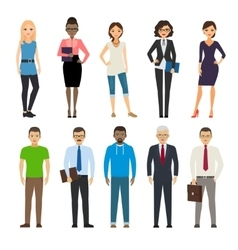 Business and casual dressed people vector
