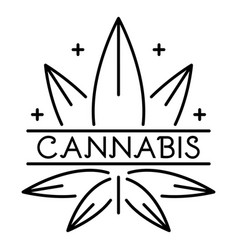 cannabis eco leaf logo outline style vector image