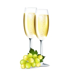 Champagne in glasses vector