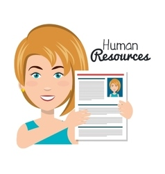 Character woman with curriculum human resources vector