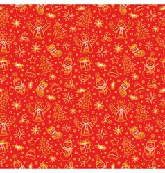 Christmas Red Gold Seamless Pattern New year vector image
