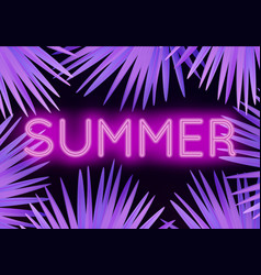 colorful modern with neon lettering summer and vector image