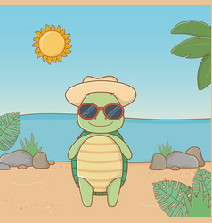 Cute animal enjoying summer vacations vector