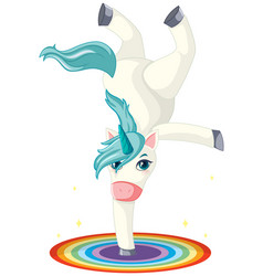 cute unicorn standing with hand vector image