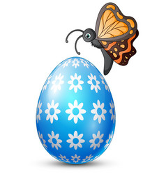Decorated easter egg with butterfly vector