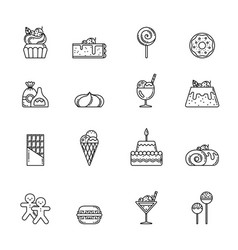 Desert icon set cupcake sweets and other vector