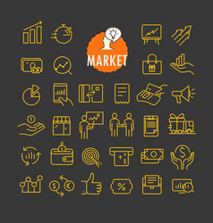 Different marketing icons collection web vector