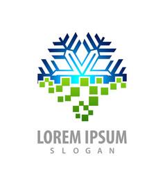 digital snowflake logo concept design symbol vector image