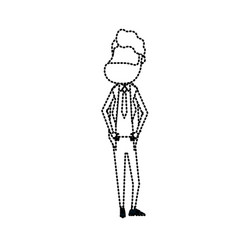 Dotted shape happy groom with hairstyle and vector