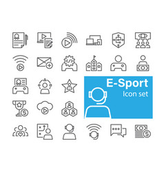 E-sport icon set vector