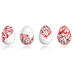 Easter eggs white with floral ornament vector image