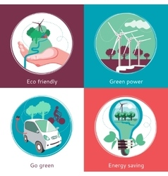 Ecology concept 4 flat icons banner vector