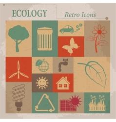 Ecology flat retro icons vector