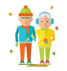 Elderly couple on autumn walk vector