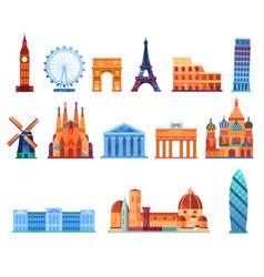 europe landmark infographic elements vector image