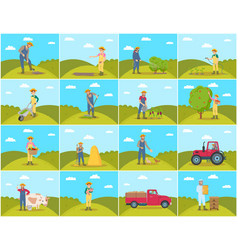 Farmer with pig and cow set vector