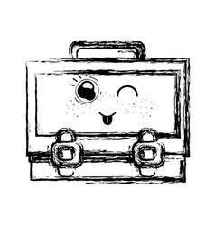 figure kawaii cute funny suitcase design vector image