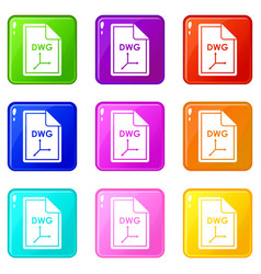 File dwg icons 9 set vector
