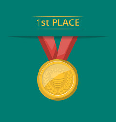 First place golden medal with red ribbon vector
