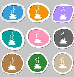 Flask symbols Multicolored paper stickers vector