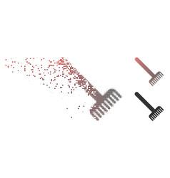 fractured pixel halftone broom icon vector image
