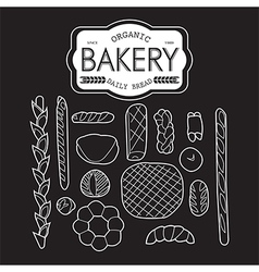 France bakery collection black and white vector image