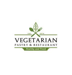 fresh vegetable spoon fork knife vegan food logo vector image