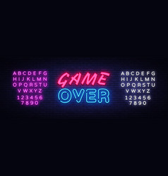Game over neon text design template game vector
